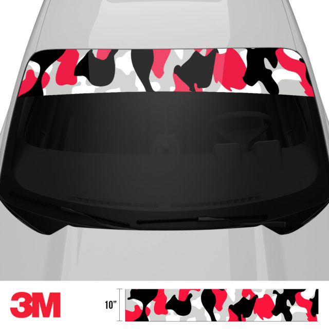 Jdm Premium Windshield Strip Banner Camo Black Red Front 2