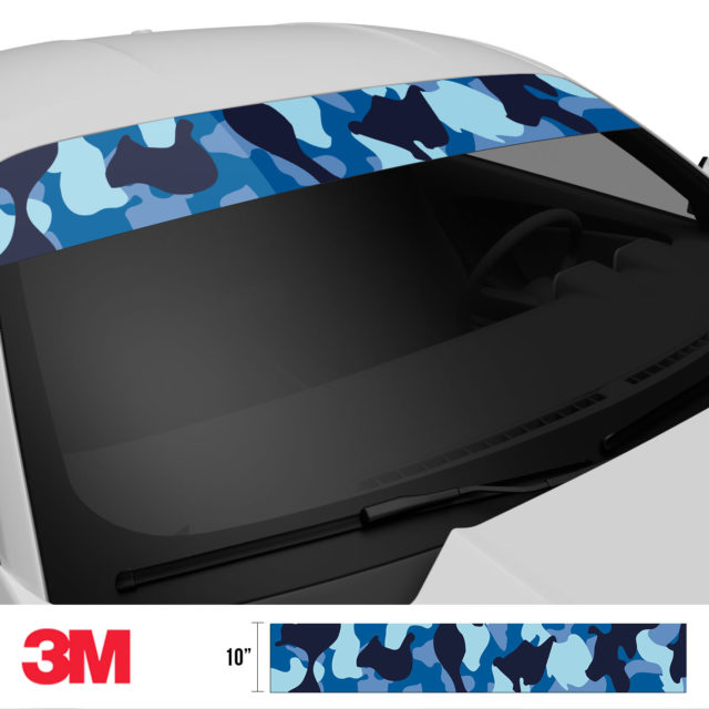 Jdm Premium Windshield Strip Banner Camo Blue Night Side 2