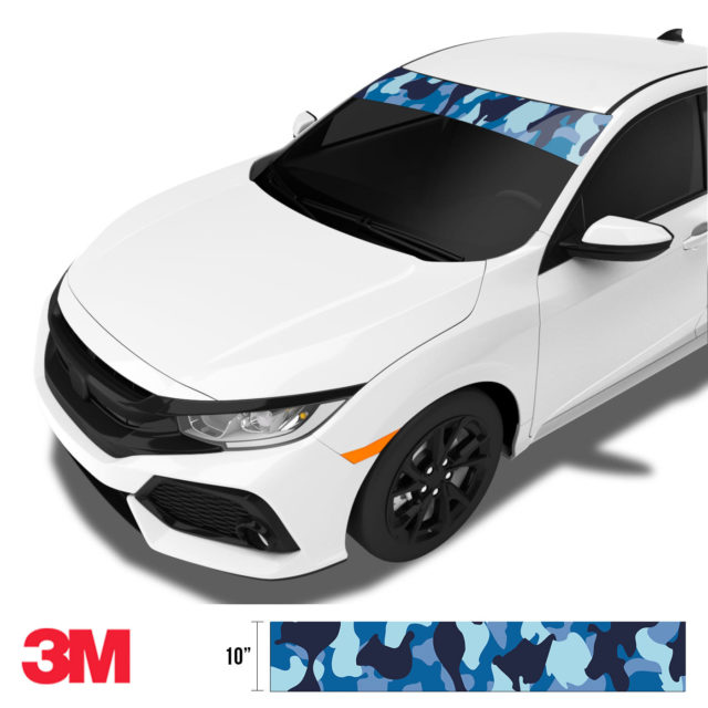 Jdm Premium Windshield Strip Banner Camo Blue Night Side