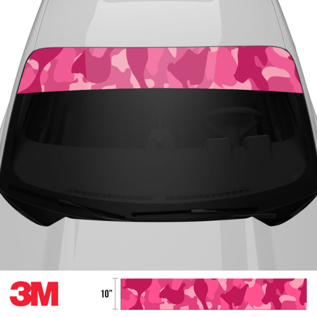 Jdm Premium Windshield Strip Banner Camo Candy Pink Front 2