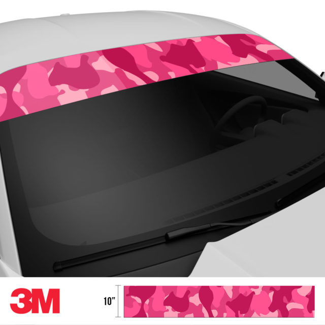 Jdm Premium Windshield Strip Banner Camo Candy Pink Side 2