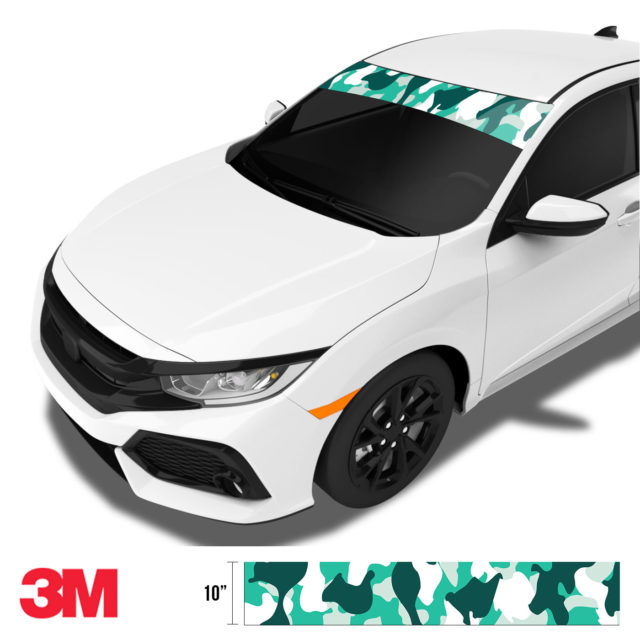 Jdm Premium Windshield Strip Banner Camo Ice Side