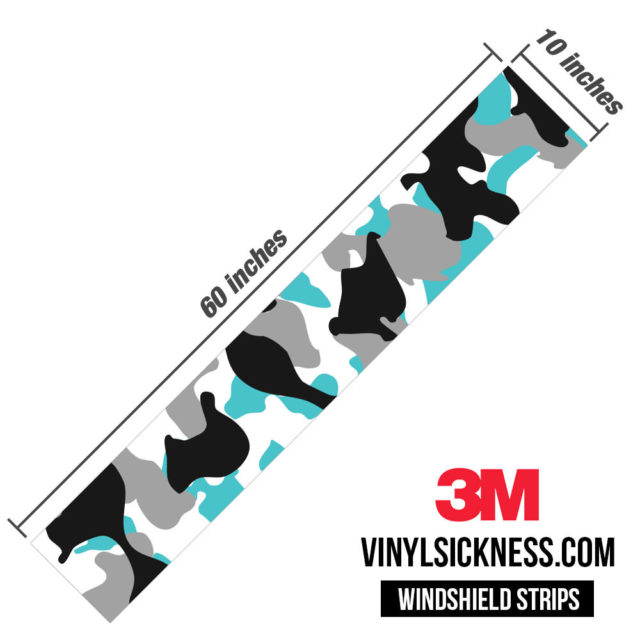 Jdm Premium Windshield Strip Banner Camo Light Blue Dimensions