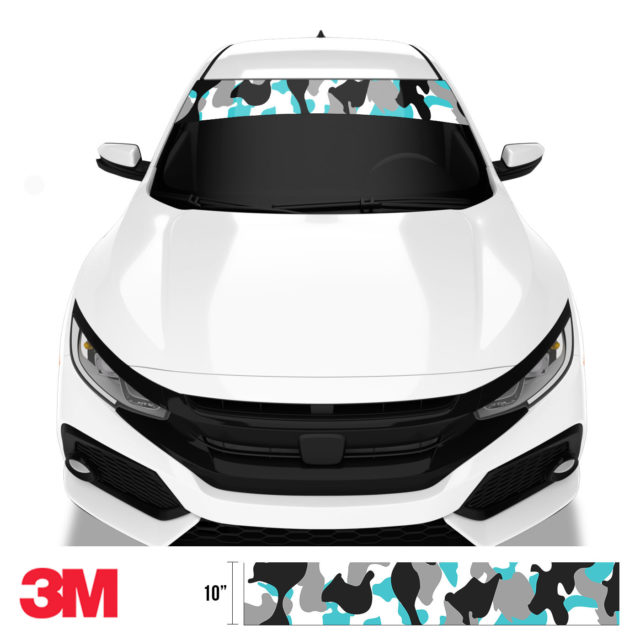 Jdm Premium Windshield Strip Banner Camo Light Blue Front
