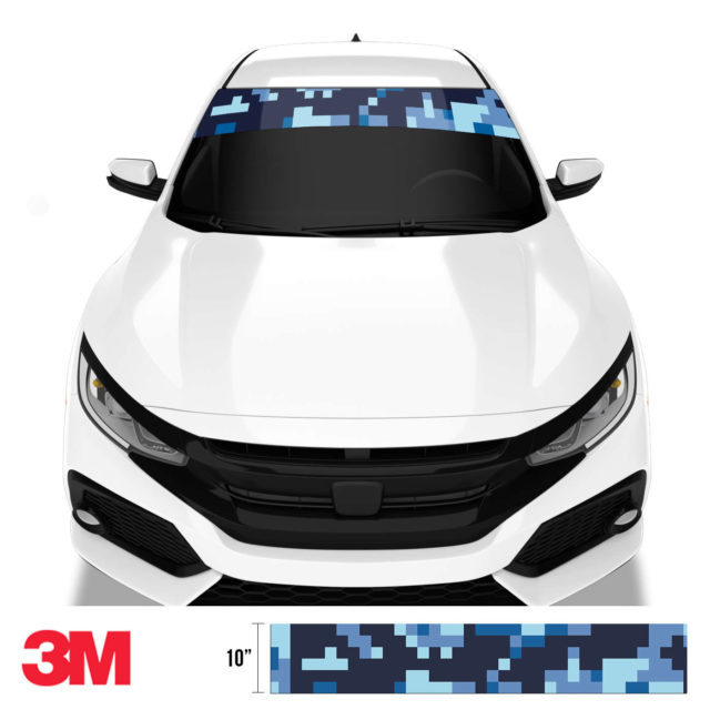 Jdm Premium Windshield Strip Banner Digital Camo Blue Night Front