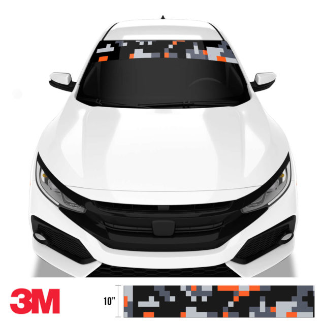 Jdm Premium Windshield Strip Banner Digital Camo Sunset Front