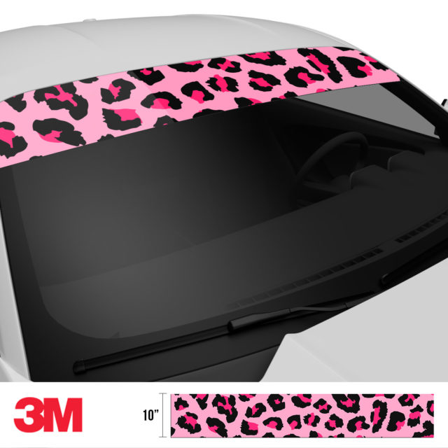 Jdm Tuner Leopard Skin Pink Windshield Sun Strip Side 2